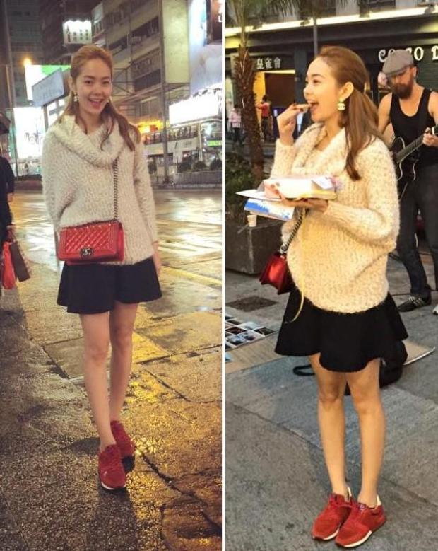 Trong một set đồ khác, Minh Hằng vẫn sử dụng chiếc áo len cổ to sụ mix cùng chân váy đen nữ sinh. Tuy nhiên với set đồ này, cô nàng lại lựa chọn chiếc túi Dior đỏ tông xuyệt tông cùng đôi giày để tạo điểm nhấn.