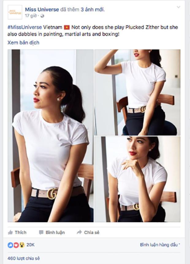 Fanpage của cuôc thi Hoa hậu Hoàn vũ chia sẻ hình ảnh Lệ Hằng cùng lời khen có cánh.
