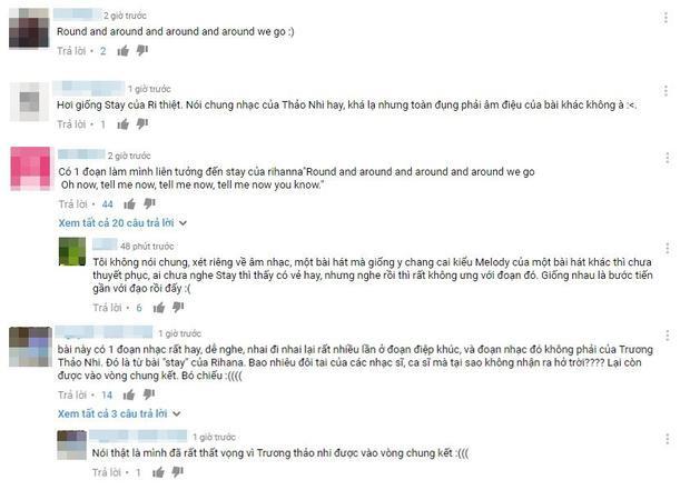 """Rất nhiều khán giả tố Thảo Nhi """"đạo nhạc"""" trên mạng xã hội vì có phần điệp khúc giống với 1 câu trong bài Stay của Rihanna"""