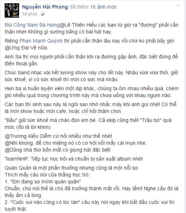Nguyễn Hải Phong cũng không quên nhắn nhủ đến các thí sinh về định hướng và tâm lý sau cuộc thi.