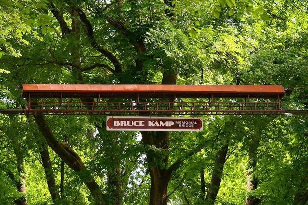 """Bruce Kamp, cây cầu treo siêu nhỏ được thiếu kế phía trên trục đường chính Longview, Washington cũng là tuyến đường """"huyết mạch"""" của những chú sóc nơi đây."""
