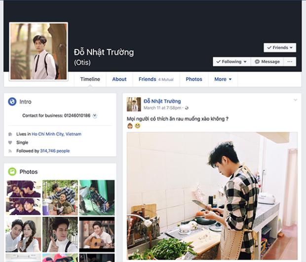 Trang cá nhân của Trường hiện có hơn 300 nghìn lượt theo dõi.