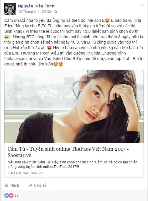 Những lời chia sẻ của diễn viên Kiều Trinh về việc đăng kí cho con gái Cẩm Tú tham gia The Face Online