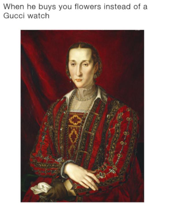 """Bức ảnh có tựa đề : """"Khi anh ấy mua hoa cho bạn mà không phải đồng hồ Gucci"""". Tác giả của bức ảnh - William Ndatila đã lấy hình chân dung nàng Eleonora di Toledo của họa sỹ người Ý để thể hiện cho cảm xúc """"hụt hẫng"""" của cô bạn gái khi bạn trai chỉ tặng hoa làm quà."""