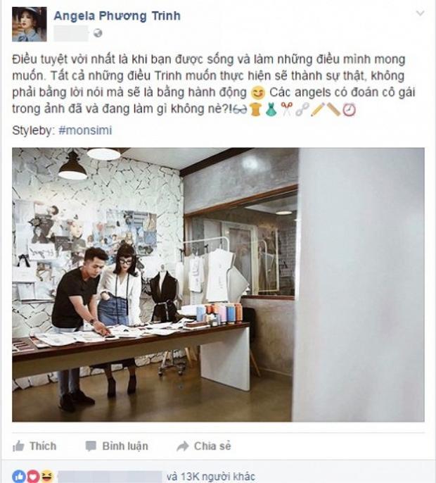 Một bức hình được đăng tải trên trang cá nhân cách đây không lâu khiến nhiều người hâm mộ tò mò không biết có phải Angela Phương Trinh có ý định chuyển hướng thành nhà thiết kế thời trang hay không.