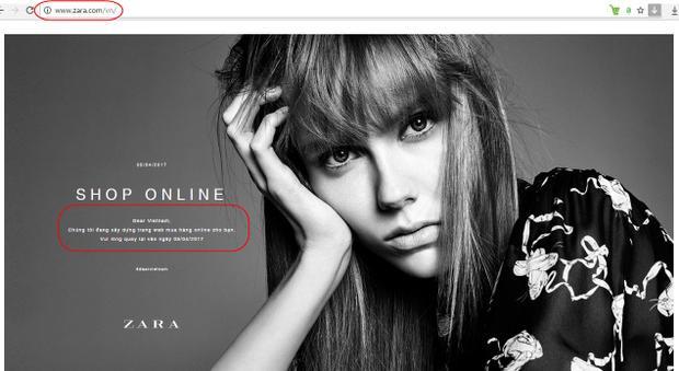 """Website chính thức của hãng này tại địa chỉ zara.com/vn cũng có dòng thông báo với người mua hàng """"Chúng tôi đang xây dựng trang web mua hàng online cho bạn. Vui lòng quay lại vào ngày 05/04/2017."""