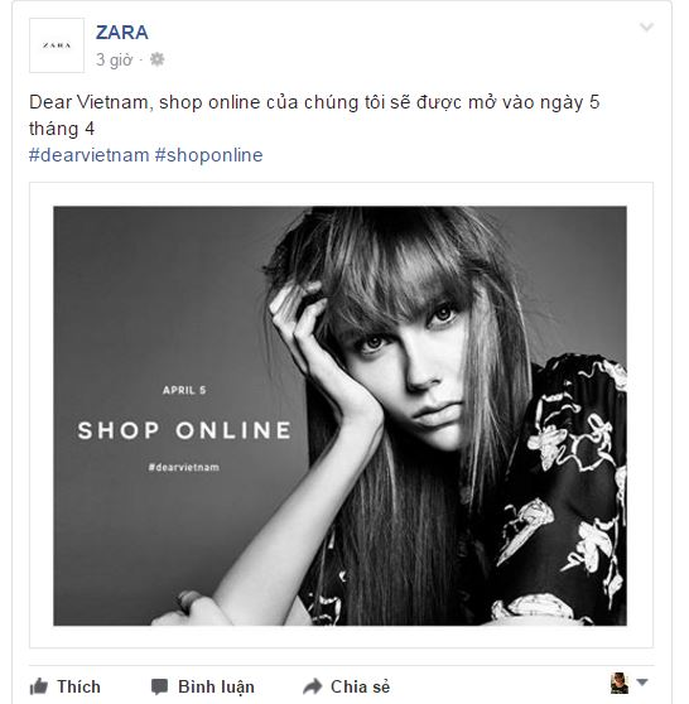 """Thông tin chính thức được đăng tải: """"Dear Vietnam, shop online của chúng tôi sẽ được mở cửa vào ngày 5 tháng 4""""."""