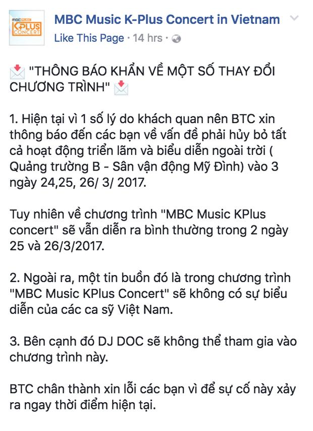 Cập nhật mới nhất từ BTC trên fanpage chính thức của chương trình.