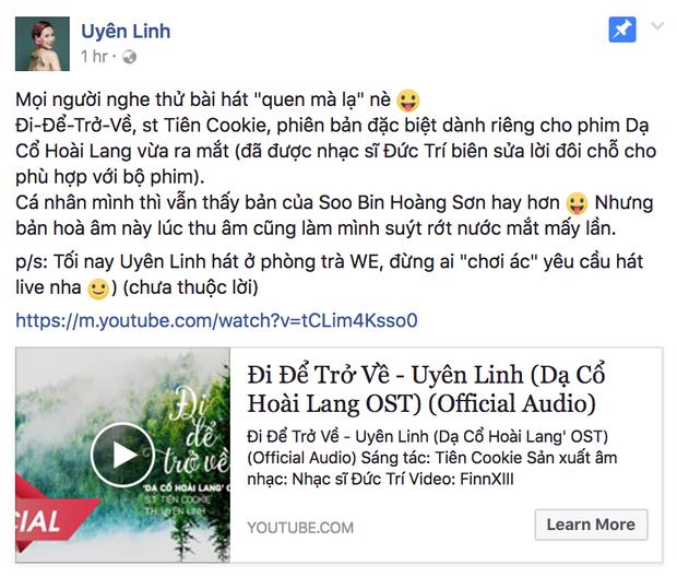 Uyên Linh chia sẻ bài hát do mình thể hiện.
