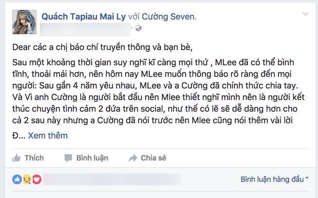 Đoạn chia sẻ của MLee trên trang facebook cá nhân. (Ảnh chụp từ facebook được cho là của MLee. Hiện chúng tôi đang liên hệ với nữ ca sĩ để xác nhận thông tin trên.)