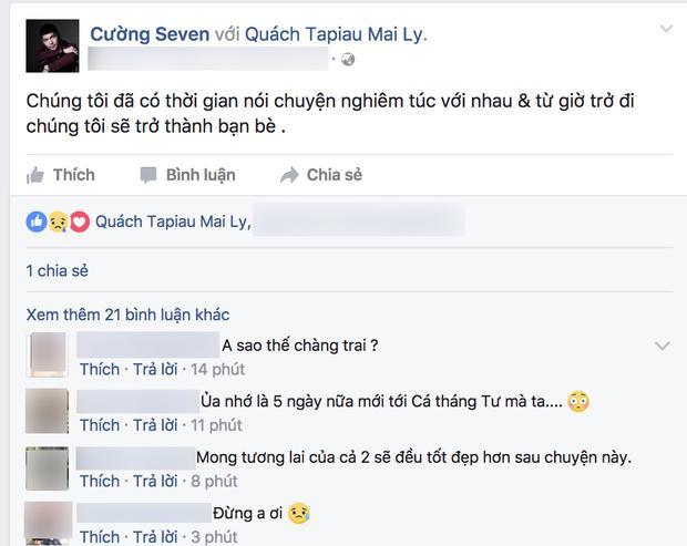 Đoạn chia sẻ ngắn gọn công bố việc chia tay của Cường Seven. (Ảnh chụp từ facebook được cho là của Cường Seven. Hiện chúng tôi đang liên hệ với nam ca sĩ để xác nhận thông tin trên.)