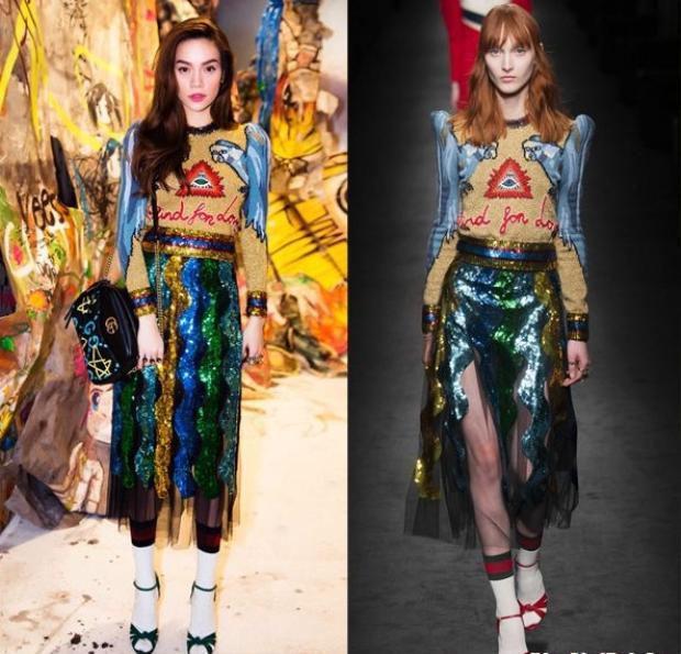 Và không chỉ có các ngôi sao nước ngoài mà ngay cả một người nổi tiếng với phong cách thời trang cực chất như Hà Hồ cũng mặc nguyên set của Gucci.