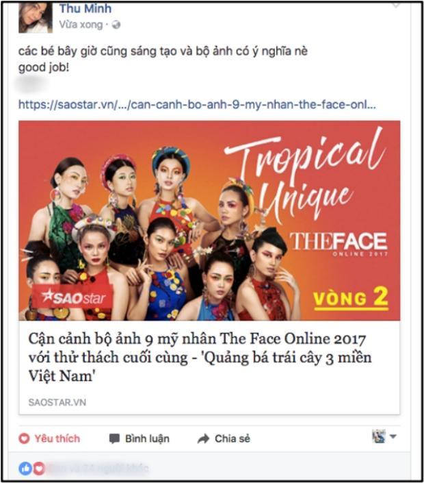 Thu Minh bất ngờ dành lời khen tặng cho bộ ảnh ý nghĩa của top 9 The Face Online.