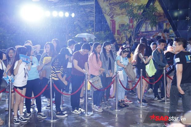 Các fan chờ đợi Sơn Tùng trong mưa.