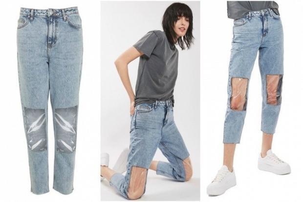 """Đây chính là chiếc quần """"khó hiểu"""" đầu tiên của Topshop mang tên """"Clear Knee Mom Jean"""" (tạm dịch là chiếc quần jean để lộ đầu gối của các bà mẹ). Vẫn chưa dừng lại ở đó…"""
