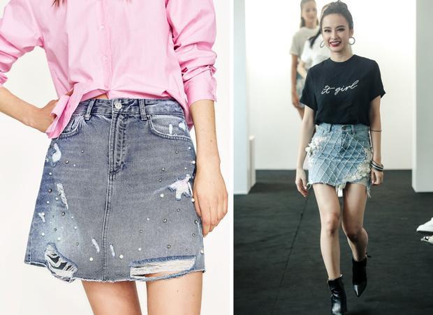 Chân váy denim đính ngọc trai đã từng là xu hướng được lăng xê từ năm 2016.
