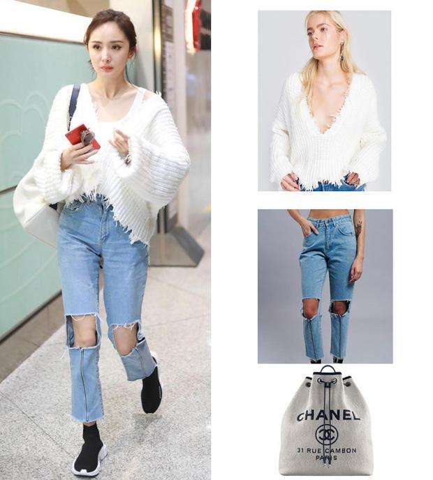Dương Mịch diện áo len cực độc từ hiệu bình dân Wildfox, phối cùng jeans rách gối của Balenciaga và túi xách Chanel.