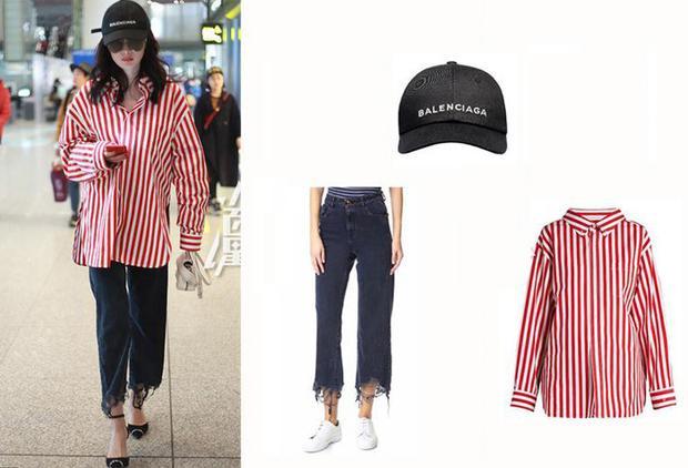 Có khi, cô lại chọn cho mình chiếc áo sơ mi kẻ đỏ trắng Balenciaga với jeans rách vạt DL1961 cùng giày bịt mũi của Alexander Wang.