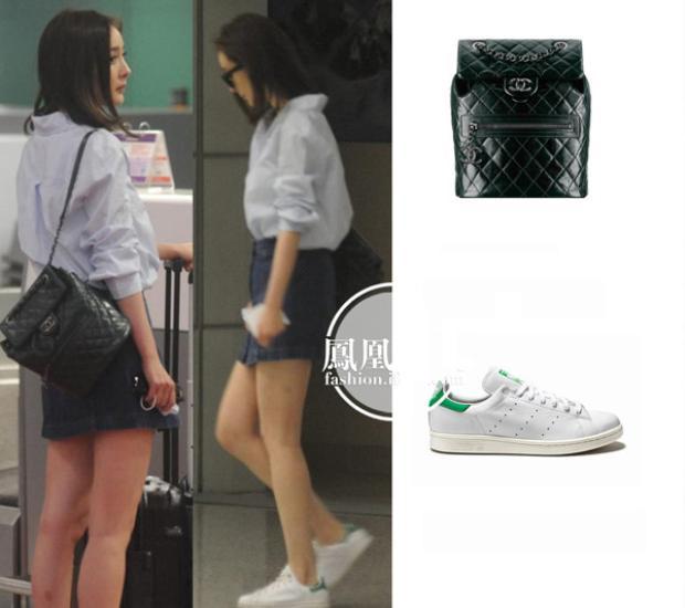 Hay đơn giản chỉ là áo sơ mi trắng cùng chân váy jean với điểm nhấn là balo đen của Chanel và sneakers trắng Adidas Stan Smith.