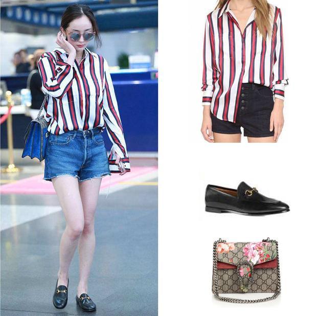 Hoặc áo sơ mi kẻ của Finders Keepers phối cùng giày và túi xách Gucci.