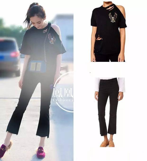 Nữ diễn viên còn ưa chuộng những thiết kế bình dân như áo thun hở vai của ASOS kết hợp cùng quần jeans Mother.