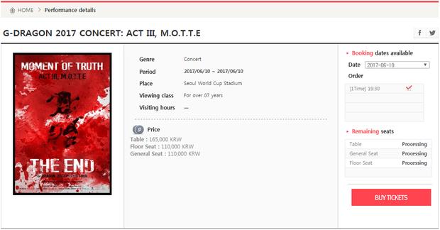 Cổng thông tin đặt mua vé trên website chính thức của YG Entertainment.