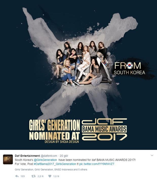 """SNSD không thể nằm ngoài cuộc chiến """"câu fan"""" của chương trình. Có điều là girlgroup nhà SM đãhoạt động với 8 thành viên gần 3 năm qua. Có vẻ như BAMA… chưa kịp cập nhật thông tin này rồi, bởi thế mới đăng hình 9 cô gái."""