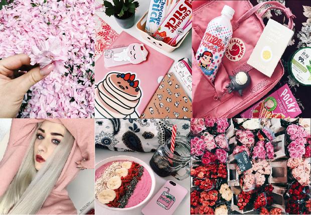 Phong cách chụp hình đậm chất cuồng màu hồng của cô nàng.