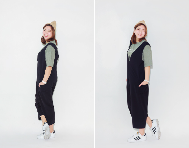 Eun Bi năng động khi chọn áo phông và jumpsuit đơn giản.