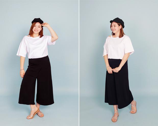 """Hai màu """"đỉnh cao"""" trắng đen luôn đẹp trong mọi hoàn cảnh. Các nàng mũm mĩm có thể học Eun Bi mix áo phông trắng rộng cùng quần culottes."""