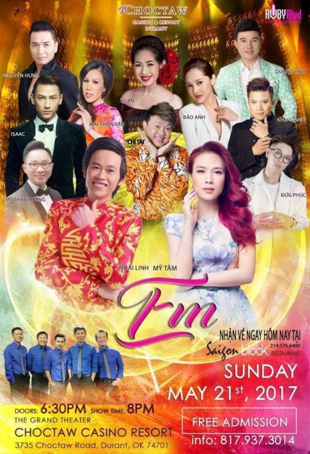 Ngày 21/5, cô có show diễn tại Mỹ cùng Hoài Linh, Chí Tài và nhiều nghệ sĩ Việt khác.