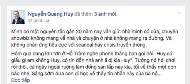 Sau Phạm Quỳnh Anh, đến lượt đạo diễn Quang Huy lên tiếng trước tin đồn đổ vỡ hôn nhân