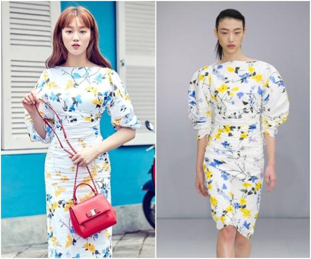 Không chỉ đụng nhau đến một mà tới vài thiết kế trong cùng BST như chiếc đầm hoa trắng nền nã này cũng rất được các người đẹp yêu thích.