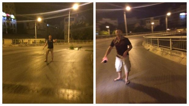 Hai thanh niên xuất hiện giữa đường đêm khuya chặn xe.