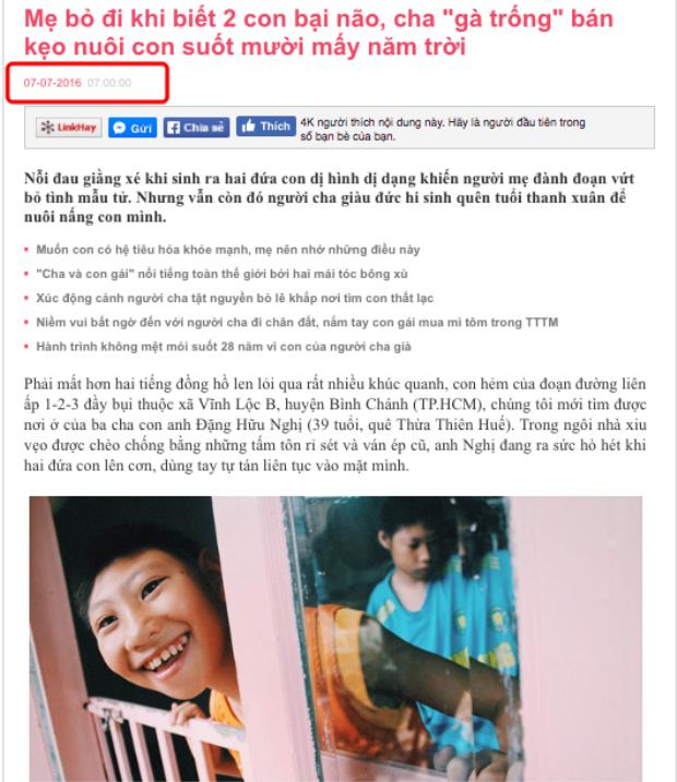 Một bài viết về hoàn cảnh của cha con anh được đăng tải từ tháng 7/2016.