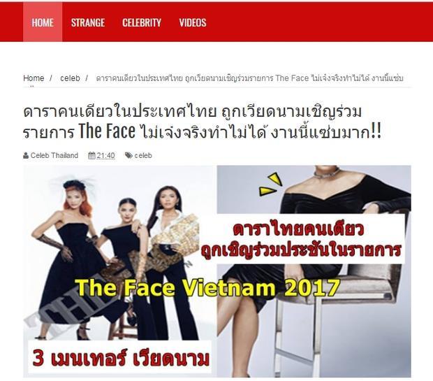 Trang Celebrityinthailand. còn đăng tải cả hình ảnh bộ ba HLV The Face Việt và dàn thí sinh.