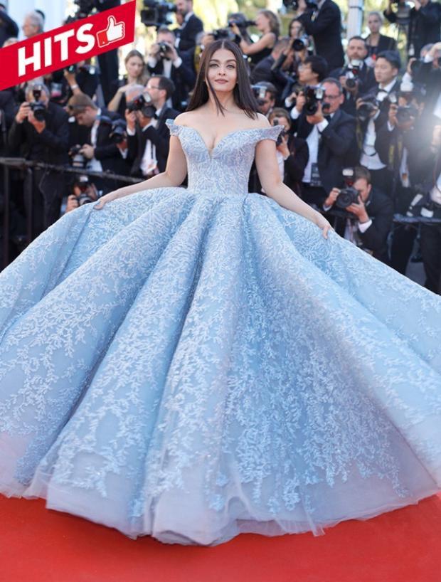 Hoa hậu Aishwarya Rai xuất hiện lộng lẫy như nàng công chúa Lọ Lem tại LHP Cannes ngày thứ 3. Không dùng bất kỳ phụ kiện nào, chỉ cần diện chiếc váy xanh pastel lộng lẫy như thế này cũng đủ giúp cô cũng trở thành nhan sắc đẹp nhất tại thảm đỏ năm nay.
