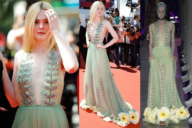 Trong chiếc đầm xanh ngọc của nhà mốt Gucci, diễn viên 19 tuổi Elle Fanning đẹp mong manh và tỏa sáng trên thảm đỏ.
