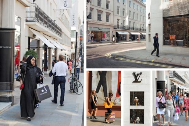 Cận cảnh con đường dự định sẽ ra mắt cửa hàng pop-up của hai thương hiệu tại 25 Bond Street ở Manhattan, New York.