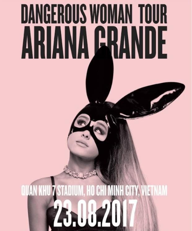 Ariana cùng world tour khủng sẽ ghé thăm Việt Nam vào ngày 23/8.