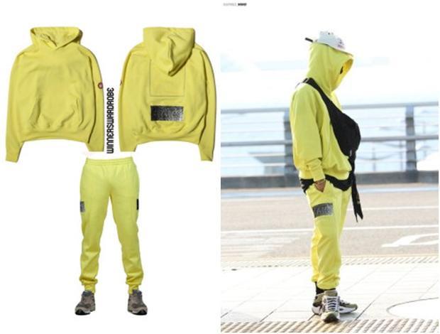 Bộ đồ thể thao màu vàng chanh giúp Song Mino được nhắc tới nhiều bởi vẻ đáng yêu, set đồ có giá 238 USD khoảng hơn 5 triệu đồng.