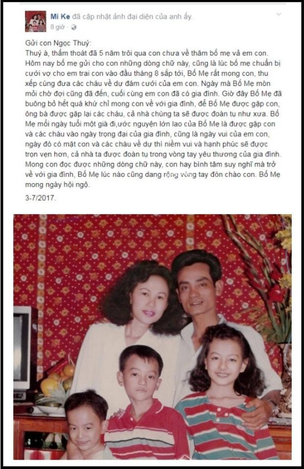 Những chia sẻ đầy cảm động của bố mẹ Ngọc Thúy mong cô về đoàn tụ trong ngày cưới của em trai.