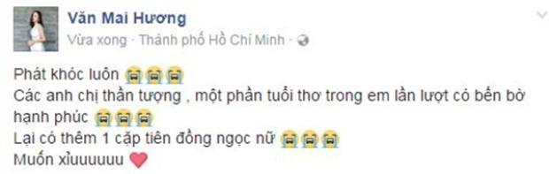 """Văn Mai Hương """"phát khóc"""" khi thấy thần tượng một thời chuẩn bị """"yên bề gia thất""""."""