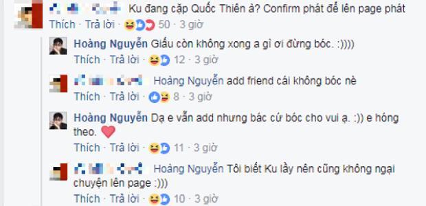 Đoạn trò chuyện giữa người quản lý fanpage nói trên với Hoàng Ku trước khi trang này đăng tải nghi vấn tình cảm giữa nam stylist và ca sĩ Quốc Thiên.