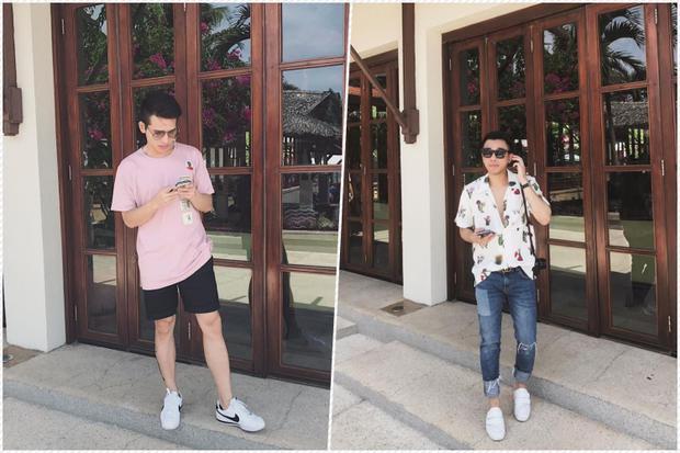 Quốc Thiên và stylist Hoàng Ku chụp ảnh cùng một background.