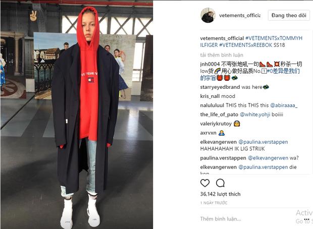 Mẫu áo hoodie được in logo của 2 thương hiệu được đăng tải trên Instagram của Vetements.