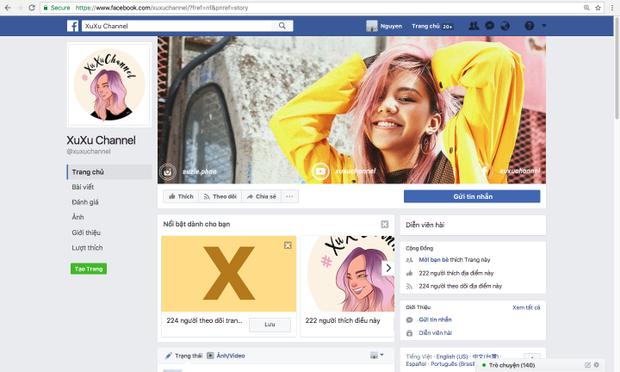Page riêng của Quỳnh Như phục vụ cho kênh Youtube.