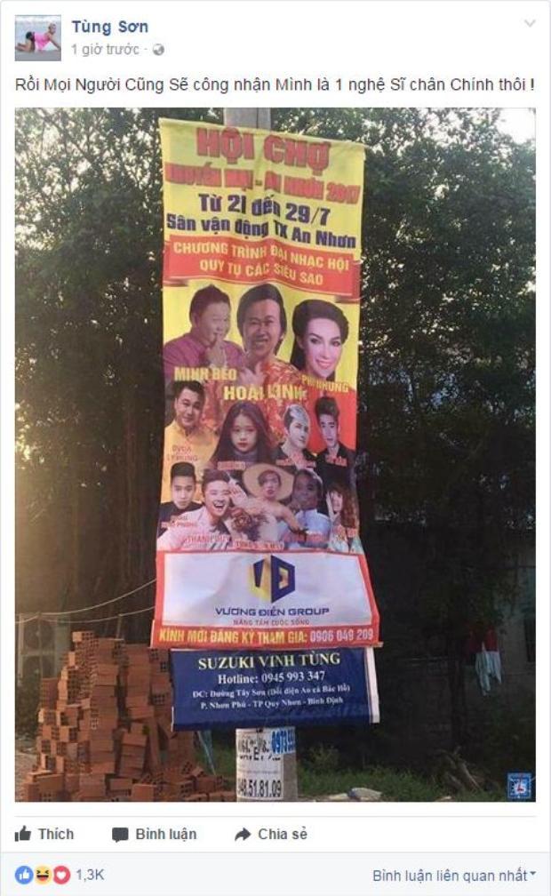 Trên fanpage của Tùng Sơn cũng đã chia sẻ thông tin về buổi biểu diễn đến khán giả.