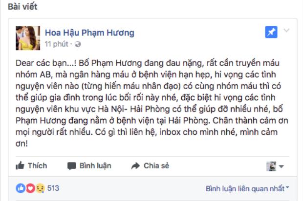 Tình trạng sức khỏe của bố nguy kịch, Hoa hậu Phạm Hương khẩn thiết tìm nhóm máu AB