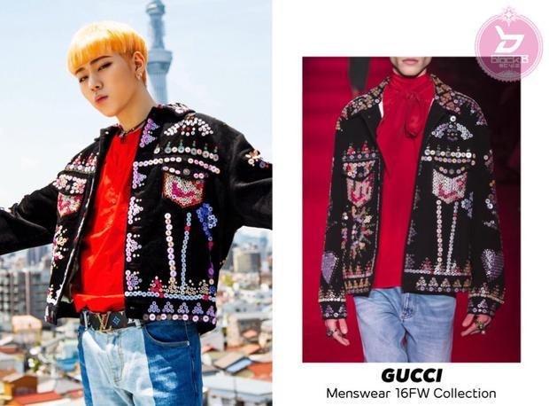 … có màu sắc tông xuyệt tông với chiếc áo khoác denim của Gucci.